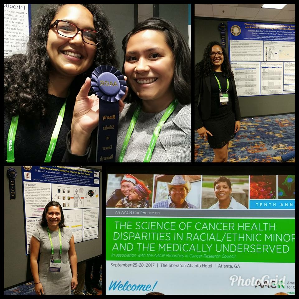 Trainees Sylvia Sanchez and Rosemarie de la Rosa received Minority Scholar in Cancer Research Awards from the American Association of Cancer Research (AACR)-Minorities inCancer Research Council at the AACR SpecialConference: The Science of Cancer Health Disparities in Racial/EthnicMinoritiesand the Medically Underserved, in Atlanta, GA (September, 2017).